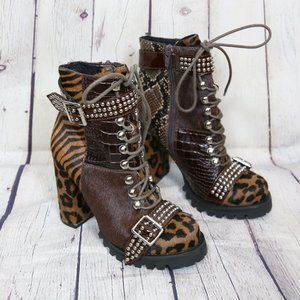 Jeffrey Campbell Lilith 2F Brown Lace-up Bootie